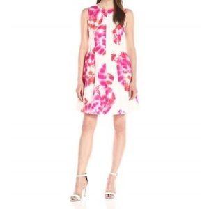 Calvin Klein Sleeveless Fit & Flare Hibiscus Dress